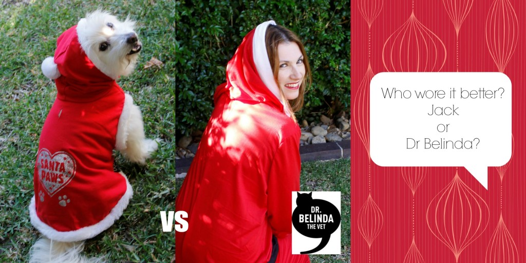 Who wore it better... over the shoulder glances in a Santa onesie...