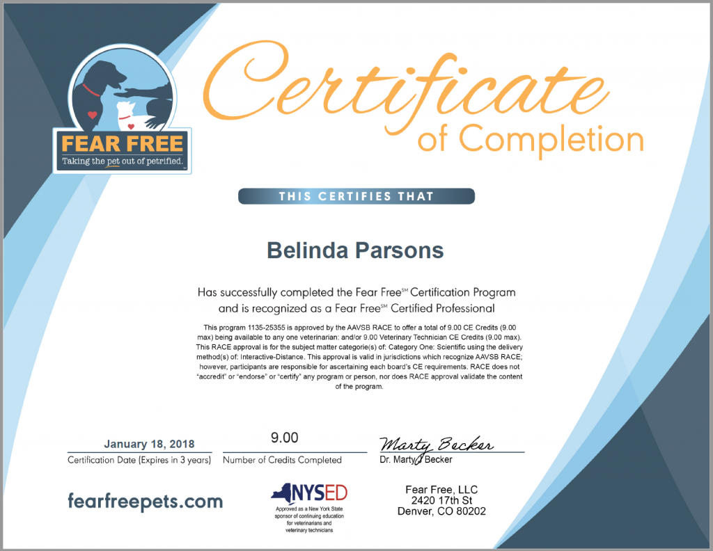 Fear Free Certification Certificate